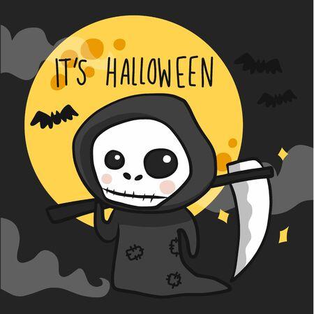 The death angel with scythe Halloween cartoon doodle vector illustration Ilustracja
