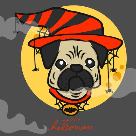 Pug wear witch hat and spiders , Happy Halloween with full moon cartoon vector illustration