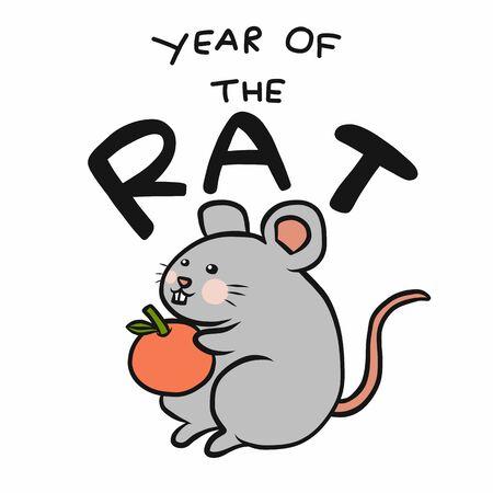 2020 Year of the rat with orange cartoon vector illustration
