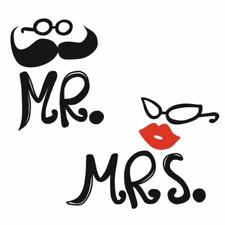 Mr. and Mrs. icon vector illustration Vettoriali