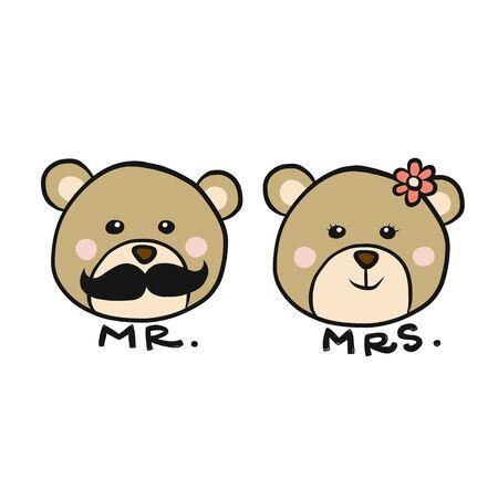 Mr. and Mrs. Bear cartoon vector illustration Vettoriali