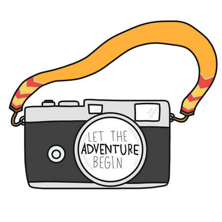 Let the adventure begin word and camera vector illustration doodle style