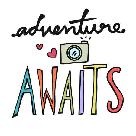 Adventure awaits word and camera vector illustration