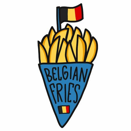 Belgian fries cartoon vector illustration