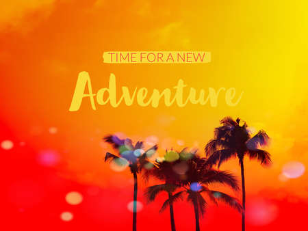 Time for a new adventure word , palm tree silhouette on orange and yellow with bokeh background
