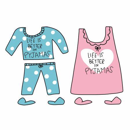 Life is better in Pyjamas (Pajamas) word and cartoon vector illustration