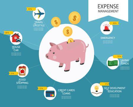 Piggy coin, illustration vectorielle de gestion des dépenses infographique