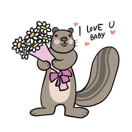 Squirrel with flower bouquet say I love you baby cartoon vector illustration