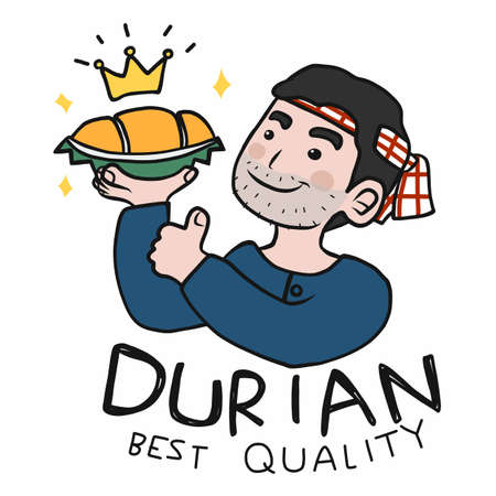 Durian beat quality in farmer hand with thumb up cartoon vector illustration Ilustrace