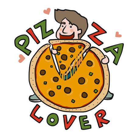 Pizza lover , Man holding giant pizza cartoon vector illustration