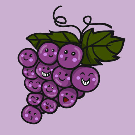 Grape friend cartoon vector illustration doodle style