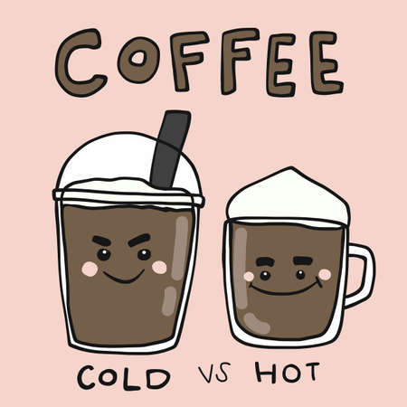 Coffee cup hot and cold cartoon vector illustration doodle style Ilustrace