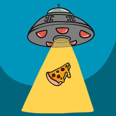 UFO kidnap piece of pizza cartoon vector illustration Ilustrace