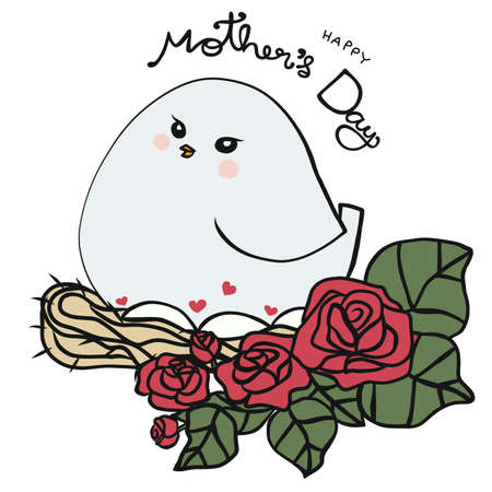 Mana bird and baby in egg , Happy Mother's Day concept cartoon vector illustration Ilustrace