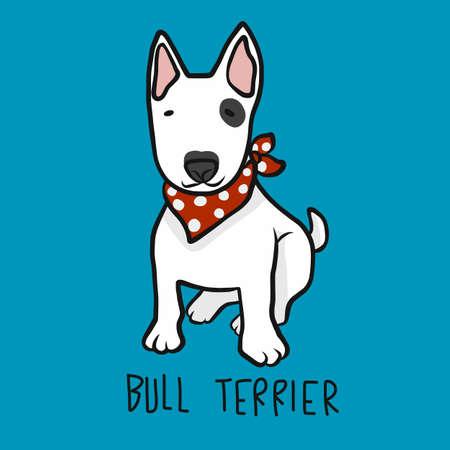 Bull Terrier dog wear red scarf cartoon vector illustration