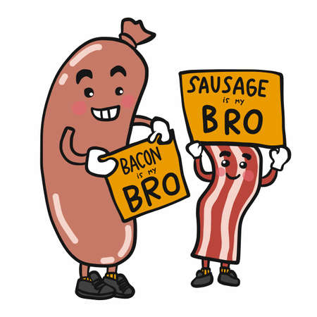 Sausage and bacon brother cartoon vector illustration