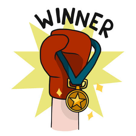 Winner , Boxing Glove with gold medal cartoon vector illustration