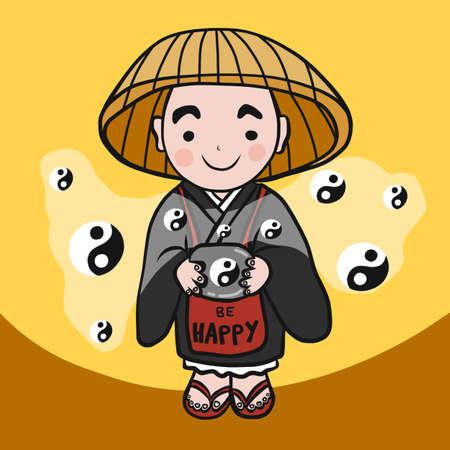 Monk be happy with Yin-Yang symbol cartoon vector illustration Ilustrace