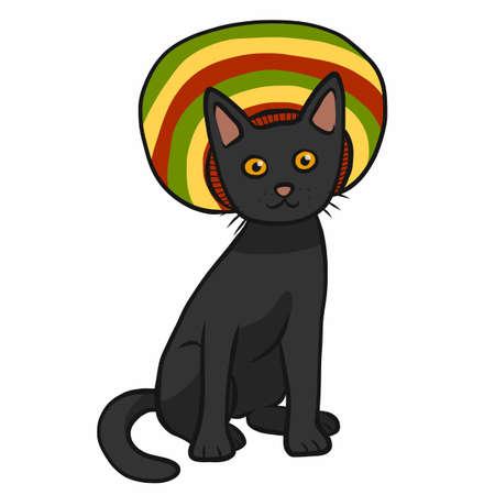Black cat wear colorful vintage hat cartoon vector illustration Ilustrace