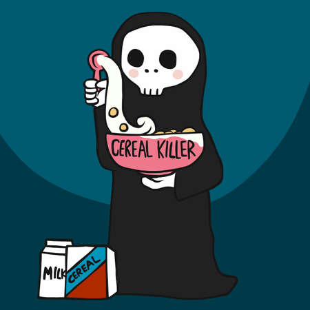 Cereal killer, the death with cereal bowl cartoon vector illustration Stock Illustratie