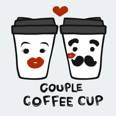 Couple coffee cup cartoon vector illustration Stock Illustratie