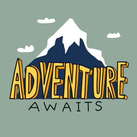 Adventure awaits word comic style in front of mountain cartoon vector illustration
