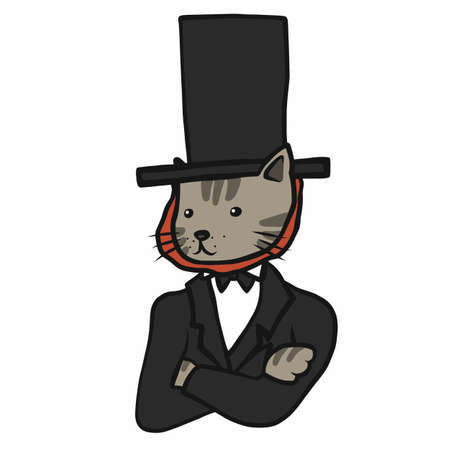 Tabby cat wear long hat and suit cartoon vector illustration Stock Illustratie
