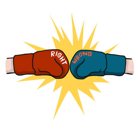 Boxing fighting between right and wrong cartoon vector illustration