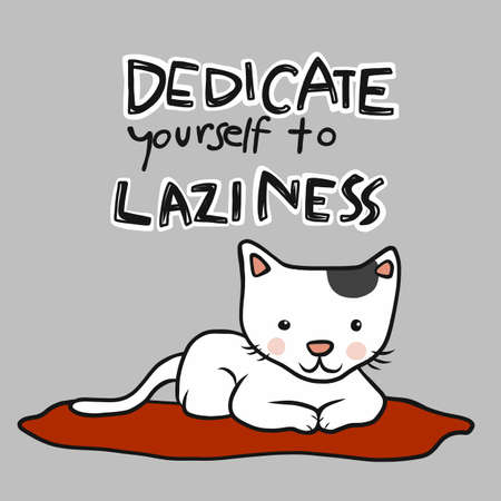 Dedicate yourself to laziness, cat sitting on red pillow cartoon vector illustration Stock Illustratie