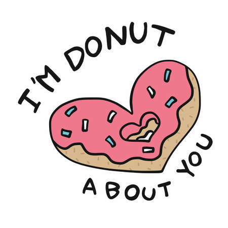 I'm donut about you, donut heart shape cartoon vector illustration Stock Illustratie