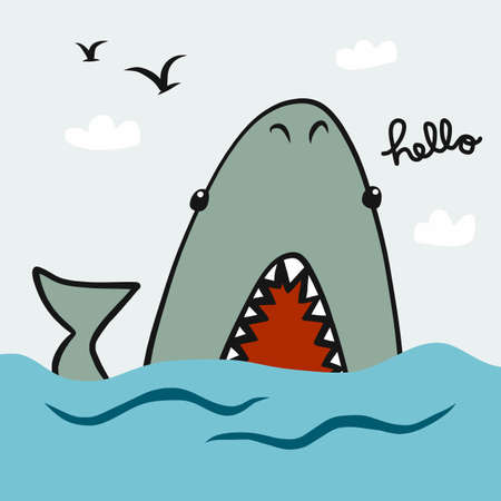 Shark say hello in the sea cartoon vector illustration doodle style