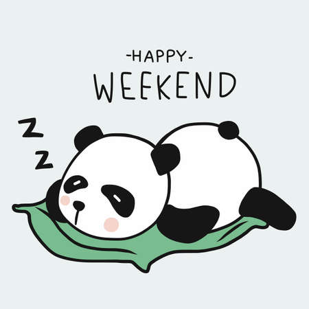 Panda sleeping, Happy weekend cartoon vector illustration doodle style