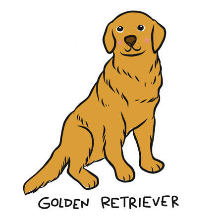 Golden Retriever dog cartoon vector illustration Stock Illustratie