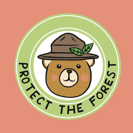 Bear wear hat, Protect the forest logo vector illustration Stock Illustratie