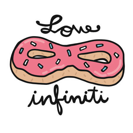 Donut love Infiniti cartoon vector illustration