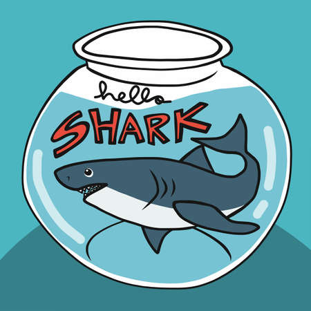 Hello shark in glass bowl cartoon vector illustration Stock Illustratie