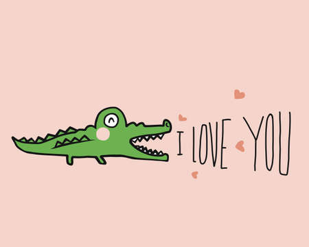 Crocodile say I love you cartoon vector illustration doodle style