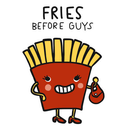 Fries before guys cartoon vector illustration