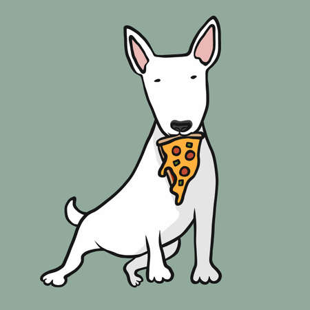 Bull Terrier dog eating pizza cartoon vector illustration