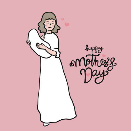 Mom carry baby , Happy Mother's Day cartoon vector illustration Stock Illustratie