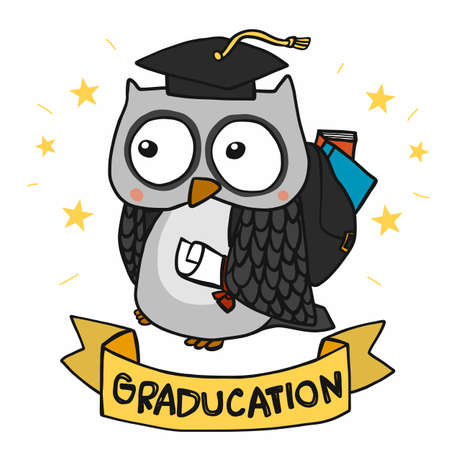 Owl celebration graduated cartoon vector illustration Stock Illustratie