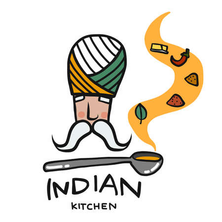 Indian kitchen logo, man with soup spoon with many spices smell cartoon vector illustration Stock Illustratie