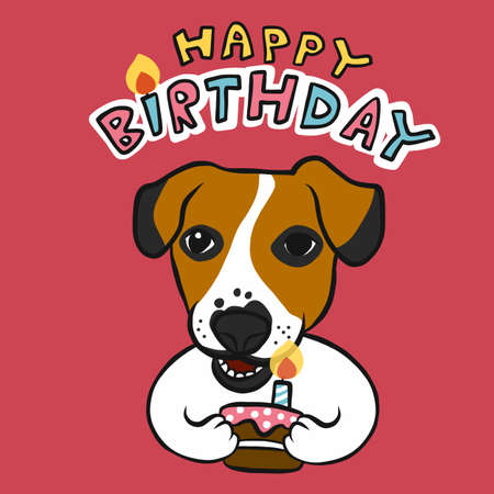 Happy Birthday Jack Russell and cake cartoon vector illustration