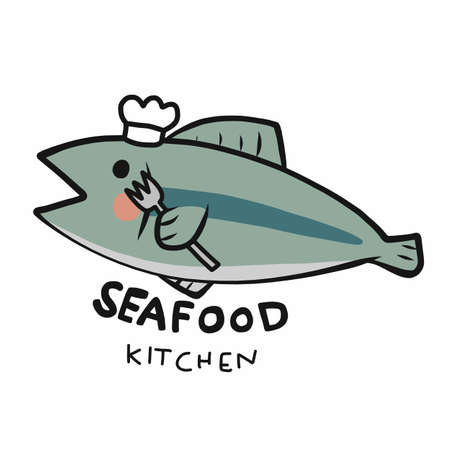 Seafood kitchen logo, fish chef cartoon vector illustration Stock Illustratie