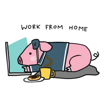 Piggy use laptop work from home cartoon vector illustration Stock Illustratie