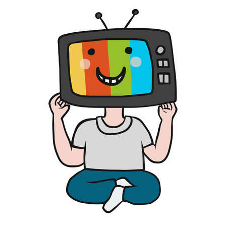 TV head man smile face cartoon vector illustration Stock Illustratie
