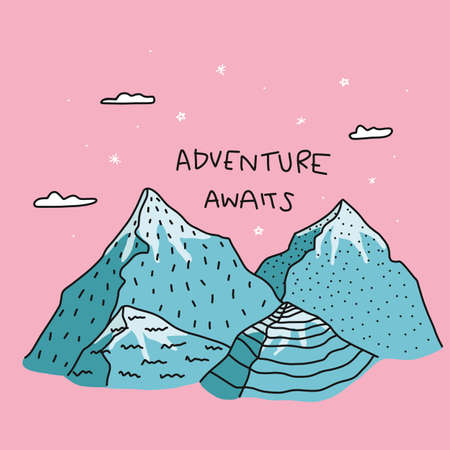 Adventure awaits word on Blue mountain and pink sky cartoon vector illustration doodle style Stock Illustratie