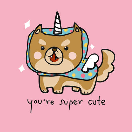 Shiba Inu dog wear super cute colorful unicorn costume cartoon vector illustration Stock Illustratie