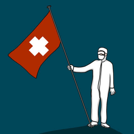 Doctor wear Protection cloth standing with heathy flag cartoon vector illustration