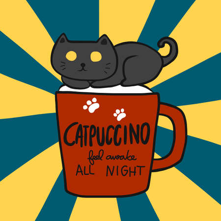 Catpuccino feel awake all night (Black cat on cappuccino coffee cup cartoon vector illustration